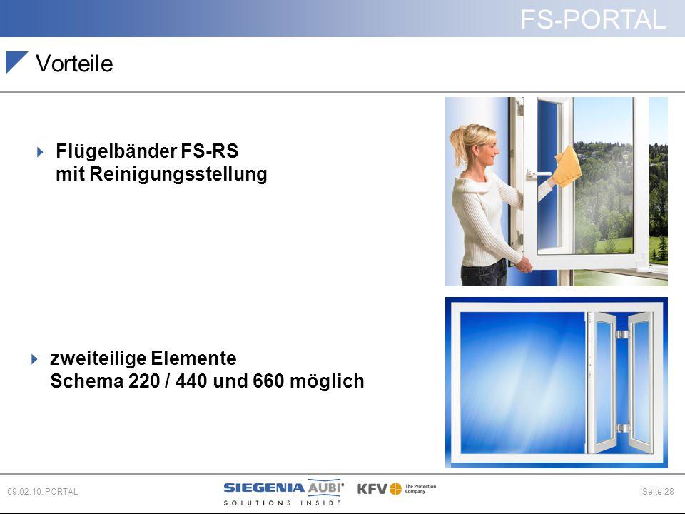 FS-PORTAL Seite 2809.02.10. PORTAL Vorteile  Flügelbänder FS-RS mit Reinigungsstellung  zweiteilige Elemente Schema 220 / 440 und 660 möglich
