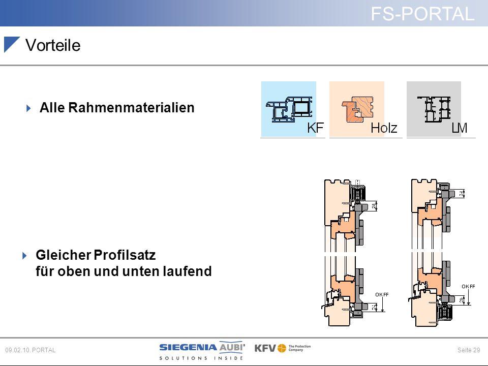 FS-PORTAL Seite 2909.02.10. PORTAL Vorteile  Alle Rahmenmaterialien  Gleicher Profilsatz für oben und unten laufend
