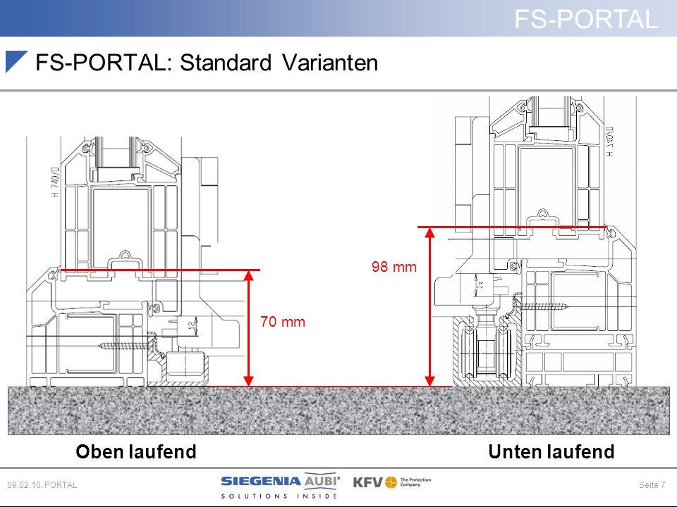 FS-PORTAL Seite 709.02.10. PORTAL Oben laufendUnten laufend Fußboden FS-PORTAL: Standard Varianten 98 mm 70 mm