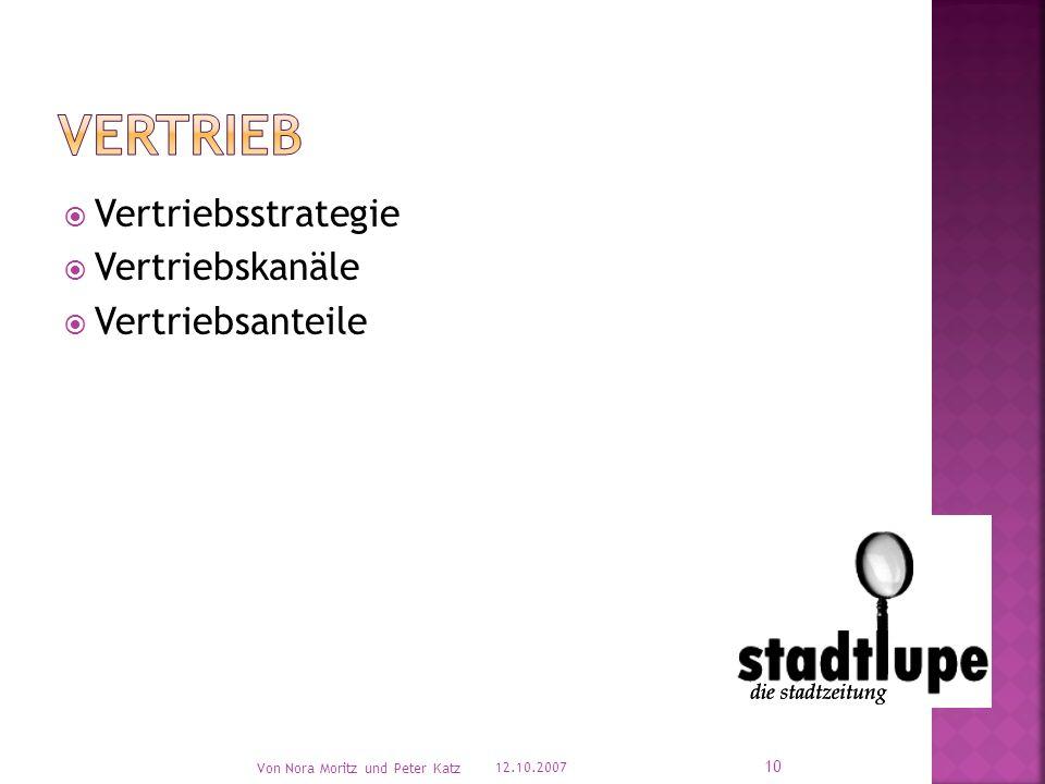 Vertriebsstrategie  Vertriebskanäle  Vertriebsanteile 12.10.2007 Von Nora Moritz und Peter Katz 10