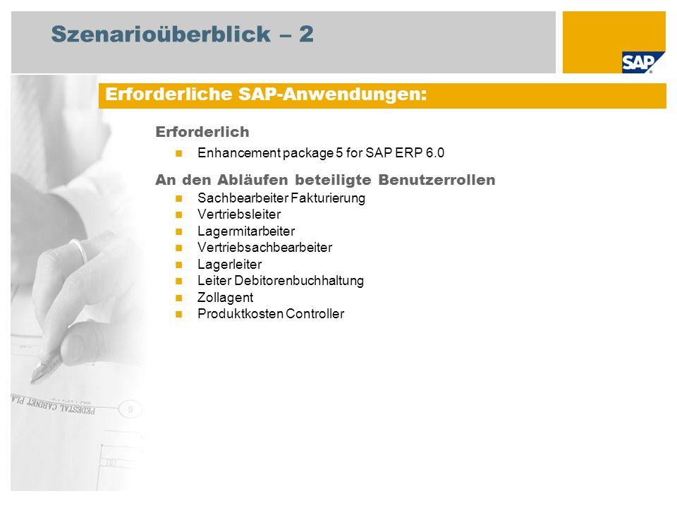 Szenarioüberblick – 2 Erforderlich Enhancement package 5 for SAP ERP 6.0 An den Abläufen beteiligte Benutzerrollen Sachbearbeiter Fakturierung Vertriebsleiter Lagermitarbeiter Vertriebsachbearbeiter Lagerleiter Leiter Debitorenbuchhaltung Zollagent Produktkosten Controller Erforderliche SAP-Anwendungen: