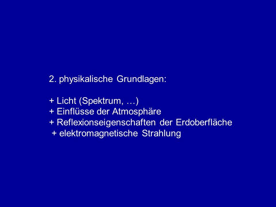 2. physikalische Grundlagen: + Licht (Spektrum, …) + Einflüsse der Atmosphäre + Reflexionseigenschaften der Erdoberfläche + elektromagnetische Strahlu
