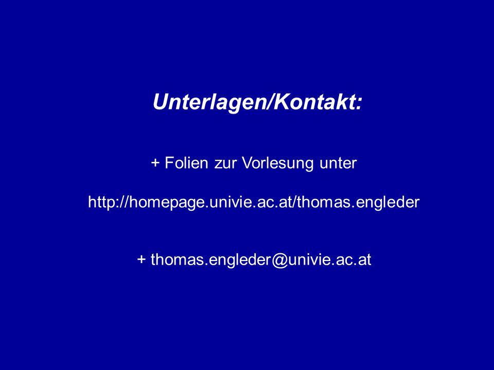 Unterlagen/Kontakt: + Folien zur Vorlesung unter http://homepage.univie.ac.at/thomas.engleder + thomas.engleder@univie.ac.at