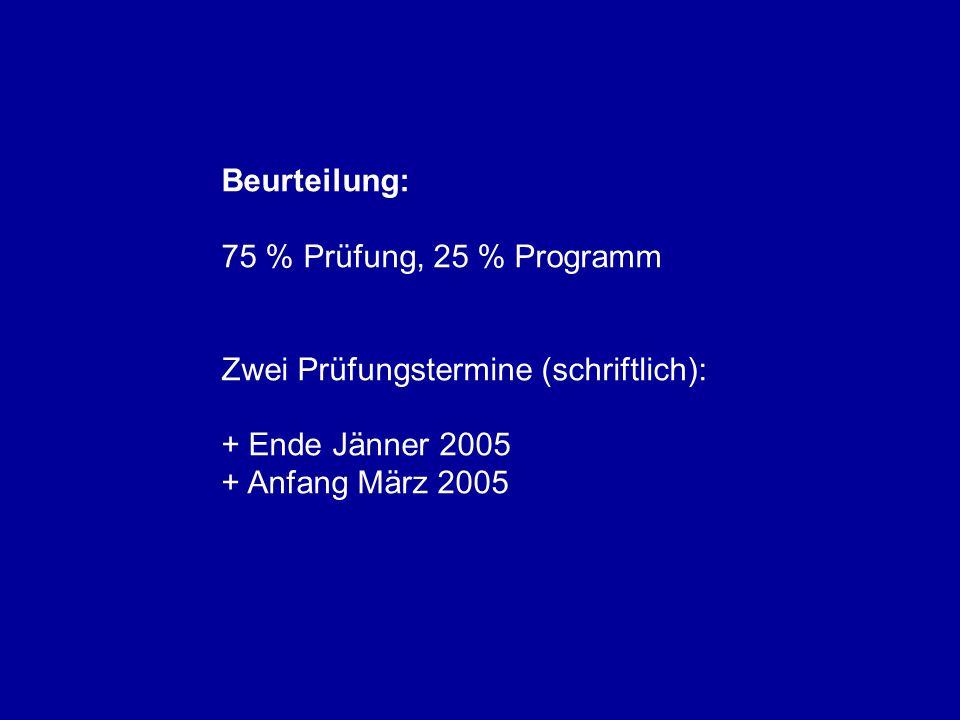 Beurteilung: 75 % Prüfung, 25 % Programm Zwei Prüfungstermine (schriftlich): + Ende Jänner 2005 + Anfang März 2005