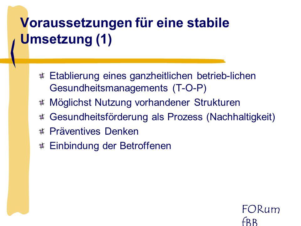 FORum fBB Etablierung eines ganzheitlichen betrieb-lichen Gesundheitsmanagements (T-O-P) Möglichst Nutzung vorhandener Strukturen Gesundheitsförderung