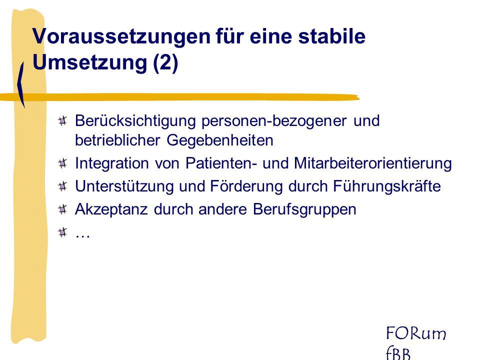 FORum fBB Berücksichtigung personen-bezogener und betrieblicher Gegebenheiten Integration von Patienten- und Mitarbeiterorientierung Unterstützung und