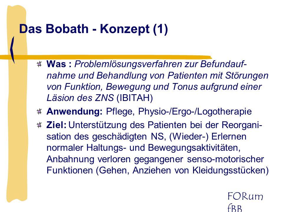 FORum fBB Das Bobath - Konzept (2) Beitrag: Entlastung der Pflegekraft/ des Therapeuten durch Ausnutzung/ Förderung der Bewegungsressourcen des Patienten Manko: Nicht-Berücksichtigung der Aspekte der Biomechanik, der Ergonomie, des Einsatzes von Hilfsmitteln, besonderer Erfordernisse bei nicht ZNS- Krankheitsbildern