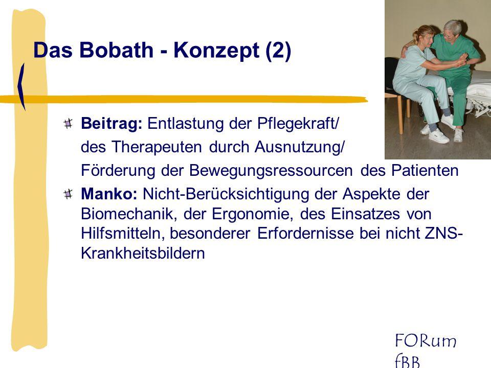 FORum fBB Das Bobath - Konzept (2) Beitrag: Entlastung der Pflegekraft/ des Therapeuten durch Ausnutzung/ Förderung der Bewegungsressourcen des Patien