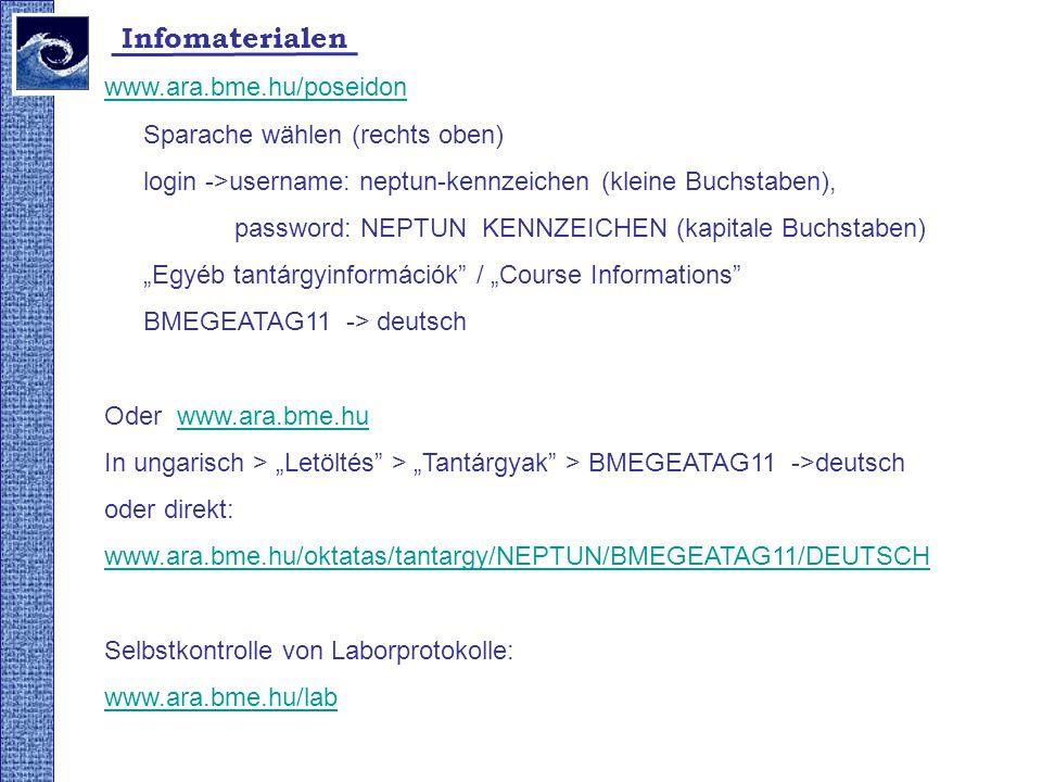 Infomaterialen www.ara.bme.hu/poseidon Sparache wählen (rechts oben) login ->username: neptun-kennzeichen (kleine Buchstaben), password: NEPTUN KENNZE