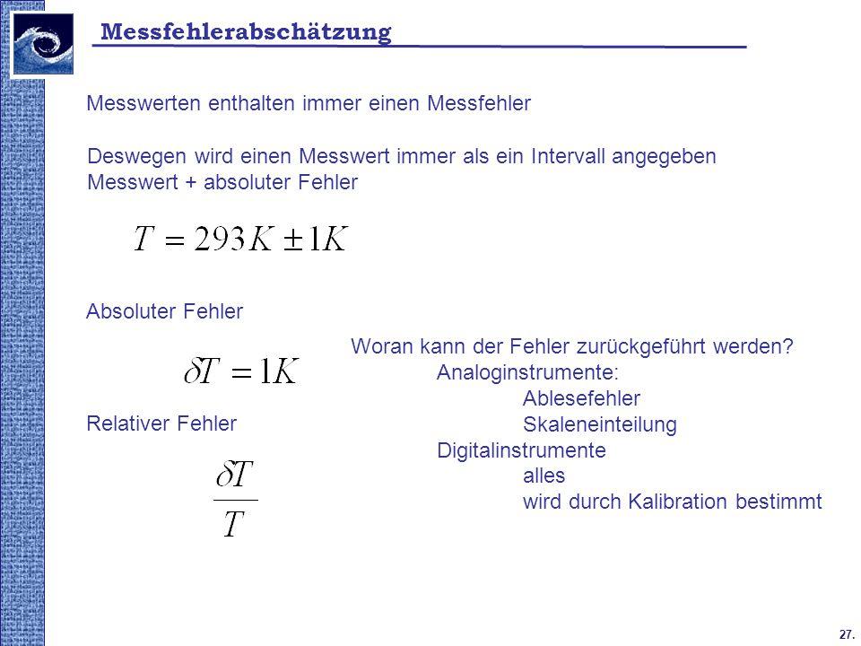 27. Messfehlerabschätzung Messwerten enthalten immer einen Messfehler Deswegen wird einen Messwert immer als ein Intervall angegeben Messwert + absolu