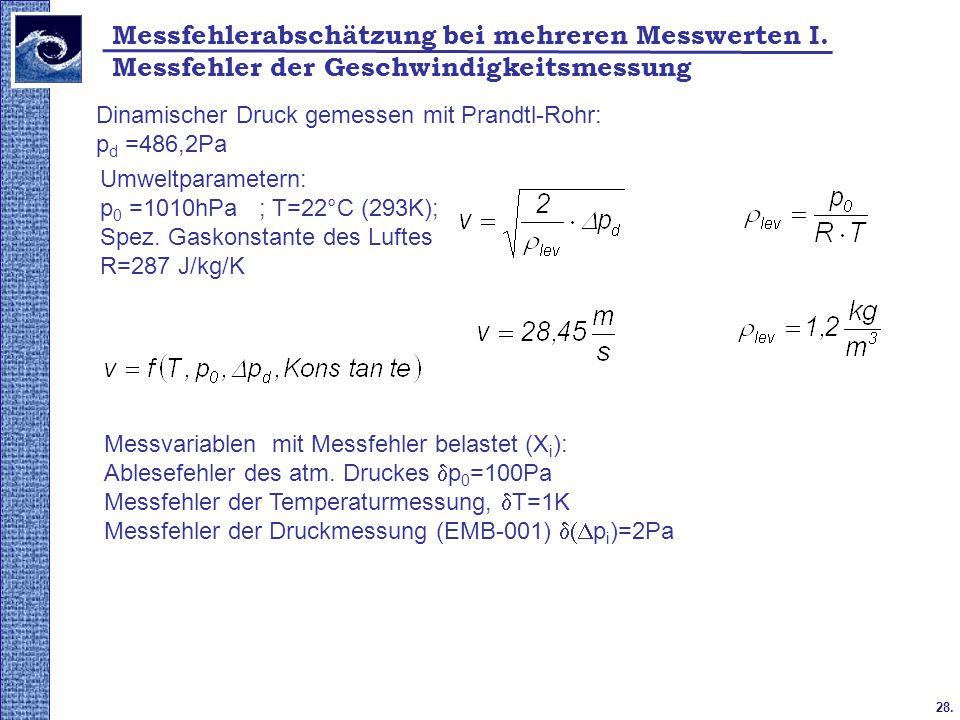Messfehler der Geschwindigkeitsmessung 28. Messfehlerabschätzung bei mehreren Messwerten I. Dinamischer Druck gemessen mit Prandtl-Rohr: p d =486,2Pa