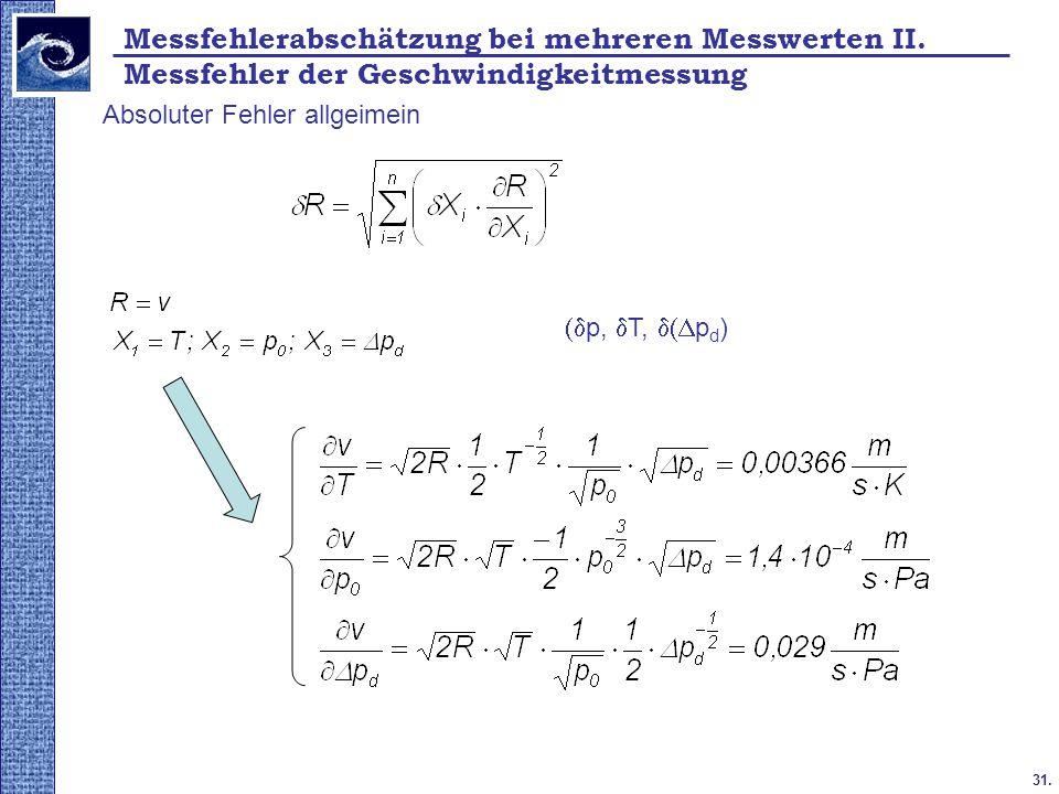 31. 2009. tavasz Absoluter Fehler allgeimein  p,  T,  p d ) Messfehlerabschätzung bei mehreren Messwerten II. Messfehler der Geschwindigkeitmess