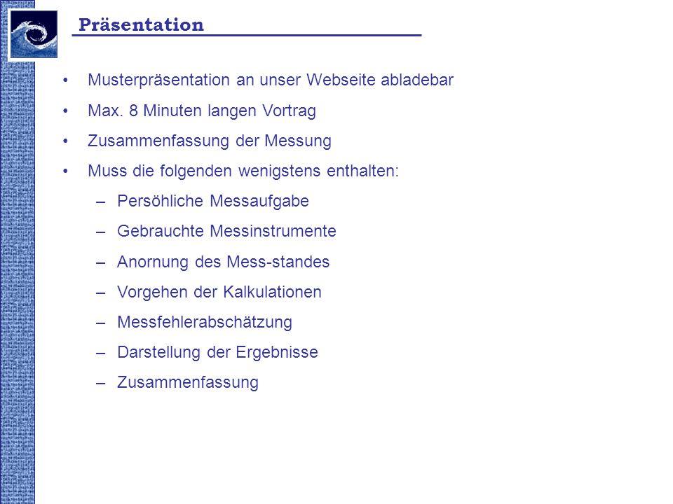 Präsentation Musterpräsentation an unser Webseite abladebar Max. 8 Minuten langen Vortrag Zusammenfassung der Messung Muss die folgenden wenigstens en