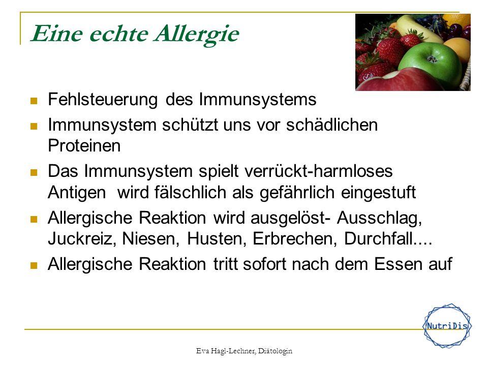 Eva Hagl-Lechner, Diätologin Nahrungsmittelintoleranz oder Nahrungsmittelunverträglichkeit Das Immunsystem ist nicht beteiligt Symptome einer brauchen länger um sich zu entwickeln Typische Symptome: Blähungen, Durchfall Reaktion tritt zeitverzögert nach dem Essen auf Lactoseintoleranz, Fructoseintoleranz, Histaminintoleranz, Glutenunverträglichkeit
