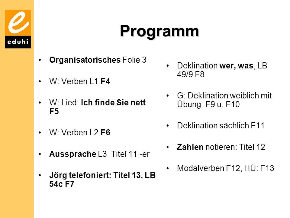 GK 1 - Programm Kurs F 4 WortschatzGrammatikTermine L3 Zu Besuch Wir fragen nach dem Weg skloňování Deklination von wer, was předložky 3p.