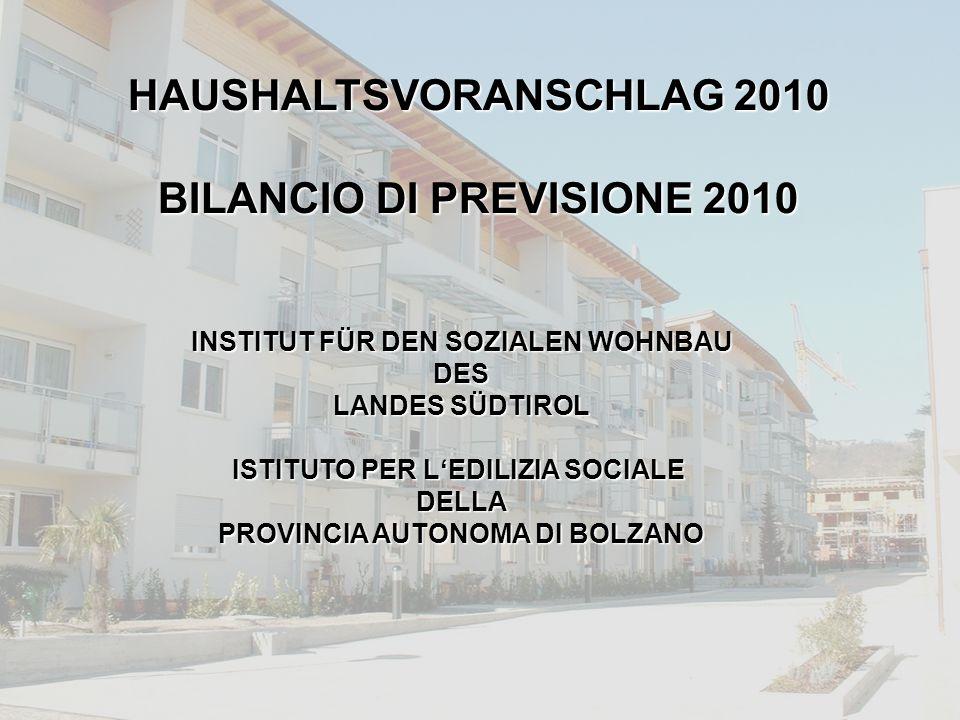 WOHNBAUINSTITUT / IPES PRESSEKONFERENZ / CONFERENZA STAMPA 24.11.2009 INSTITUT FÜR DEN SOZIALEN WOHNBAU DES LANDES SÜDTIROL ISTITUTO PER L'EDILIZIA SOCIALE DELLA PROVINCIA AUTONOMA DI BOLZANO HAUSHALTSVORANSCHLAG 2010 BILANCIO DI PREVISIONE 2010