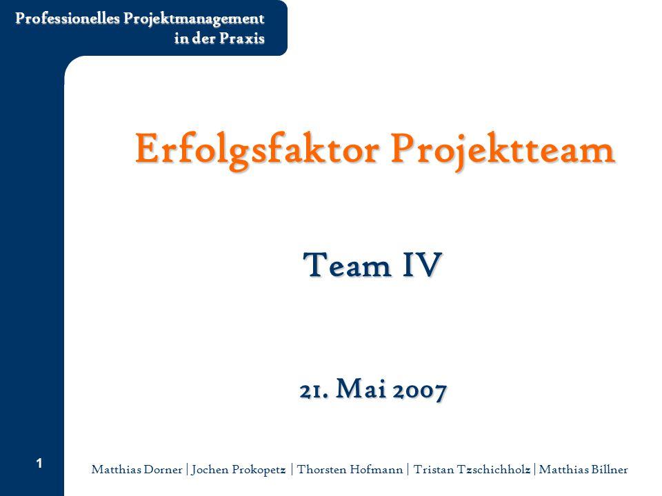 Matthias Dorner | Jochen Prokopetz | Thorsten Hofmann | Tristan Tzschichholz | Matthias Billner Professionelles Projektmanagement in der Praxis 1 Erfo