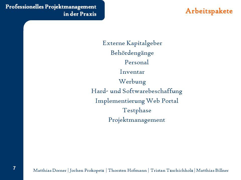 Matthias Dorner | Jochen Prokopetz | Thorsten Hofmann | Tristan Tzschichholz | Matthias Billner Professionelles Projektmanagement in der Praxis 7 Arbe