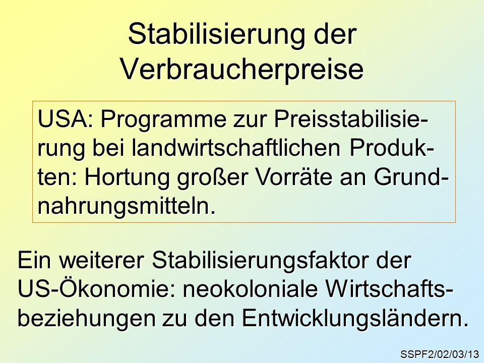 Stabilisierung der Verbraucherpreise SSPF2/02/03/13 USA: Programme zur Preisstabilisie- rung bei landwirtschaftlichen Produk- ten: Hortung großer Vorräte an Grund- nahrungsmitteln.