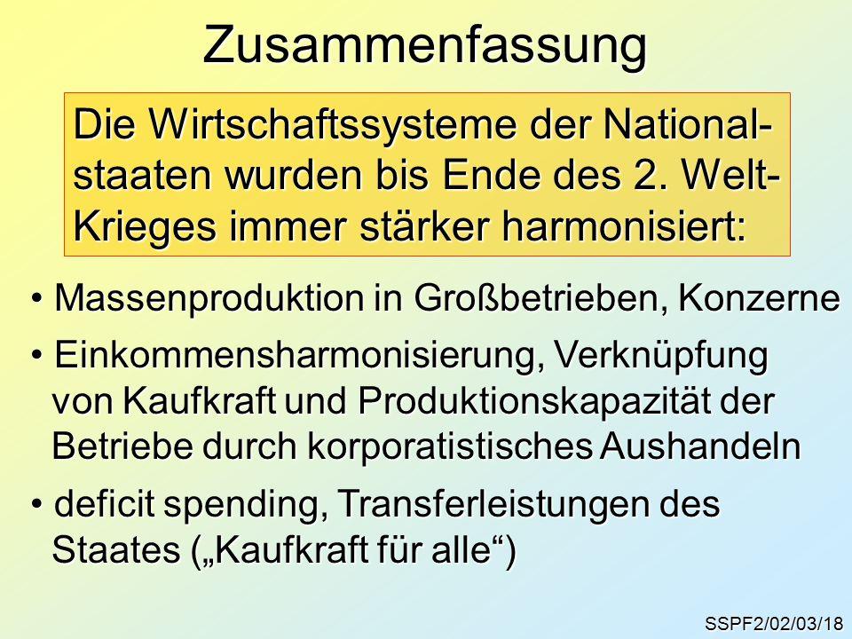 SSPF2/02/03/18 Zusammenfassung Die Wirtschaftssysteme der National- staaten wurden bis Ende des 2.