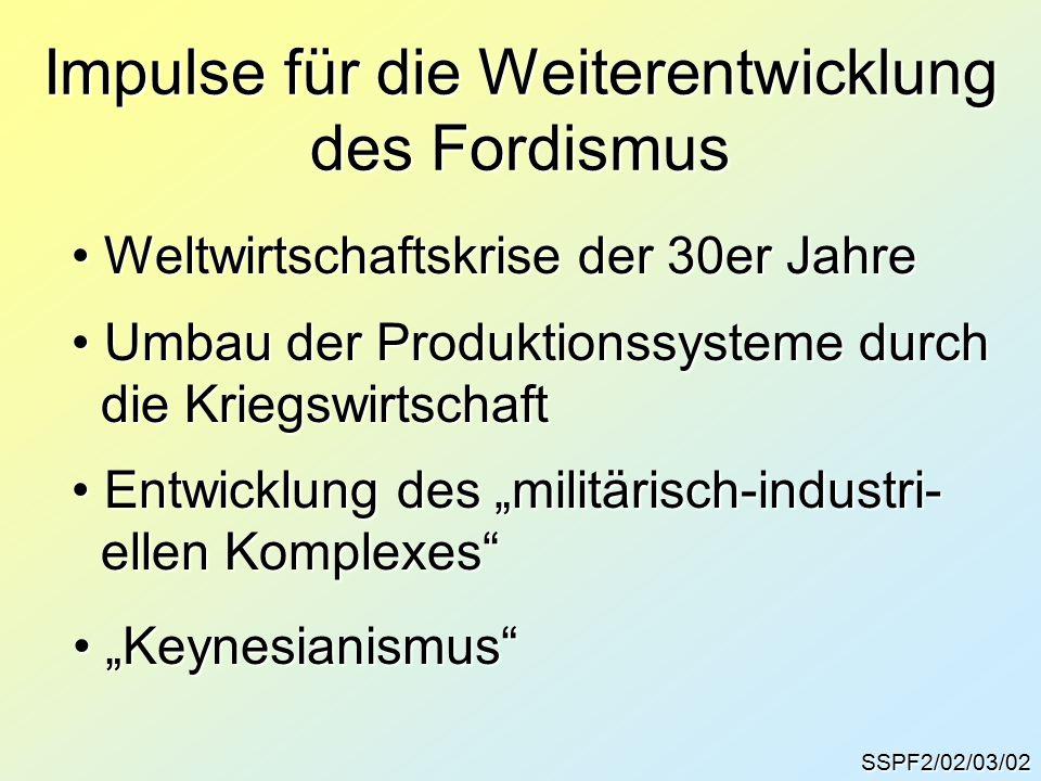 """SSPF2/02/03/02 Impulse für die Weiterentwicklung des Fordismus Weltwirtschaftskrise der 30er Jahre Weltwirtschaftskrise der 30er Jahre Umbau der Produktionssysteme durch Umbau der Produktionssysteme durch die Kriegswirtschaft die Kriegswirtschaft Entwicklung des """"militärisch-industri- Entwicklung des """"militärisch-industri- ellen Komplexes ellen Komplexes """"Keynesianismus """"Keynesianismus"""