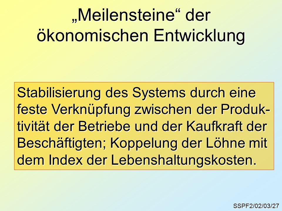 """SSPF2/02/03/27 """"Meilensteine der ökonomischen Entwicklung Stabilisierung des Systems durch eine feste Verknüpfung zwischen der Produk- tivität der Betriebe und der Kaufkraft der Beschäftigten; Koppelung der Löhne mit dem Index der Lebenshaltungskosten."""