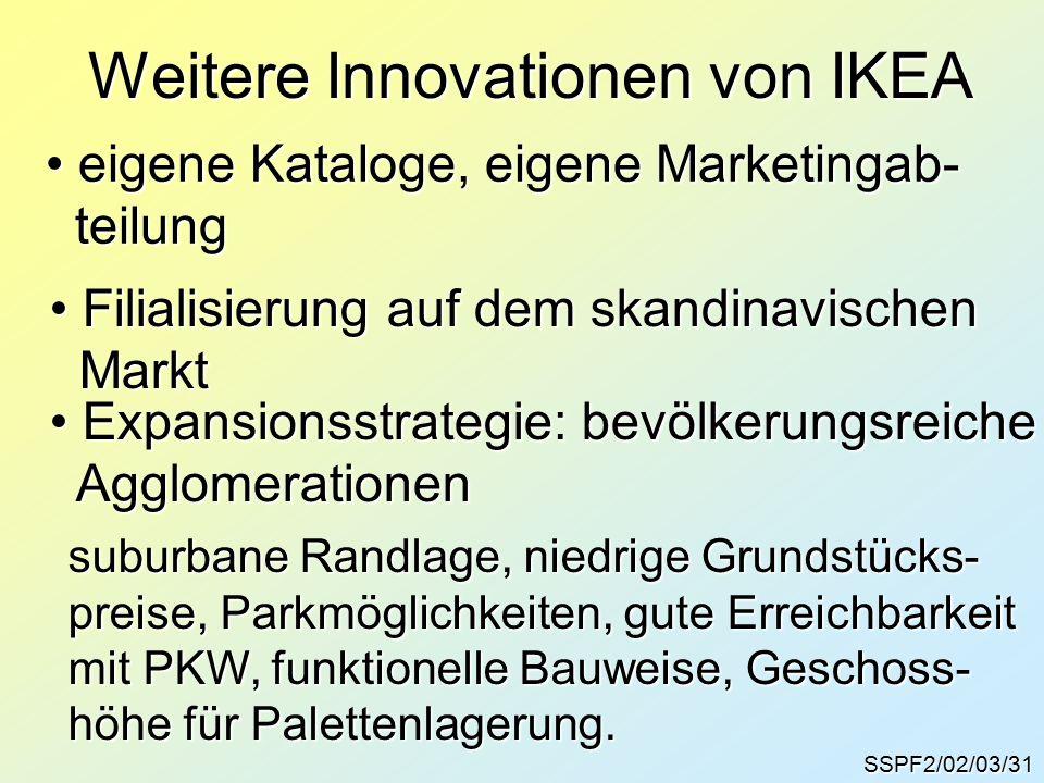 SSPF2/02/03/31 Weitere Innovationen von IKEA eigene Kataloge, eigene Marketingab- eigene Kataloge, eigene Marketingab- teilung teilung Filialisierung auf dem skandinavischen Filialisierung auf dem skandinavischen Markt Markt Expansionsstrategie: bevölkerungsreiche Expansionsstrategie: bevölkerungsreiche Agglomerationen Agglomerationen suburbane Randlage, niedrige Grundstücks- preise, Parkmöglichkeiten, gute Erreichbarkeit mit PKW, funktionelle Bauweise, Geschoss- höhe für Palettenlagerung.