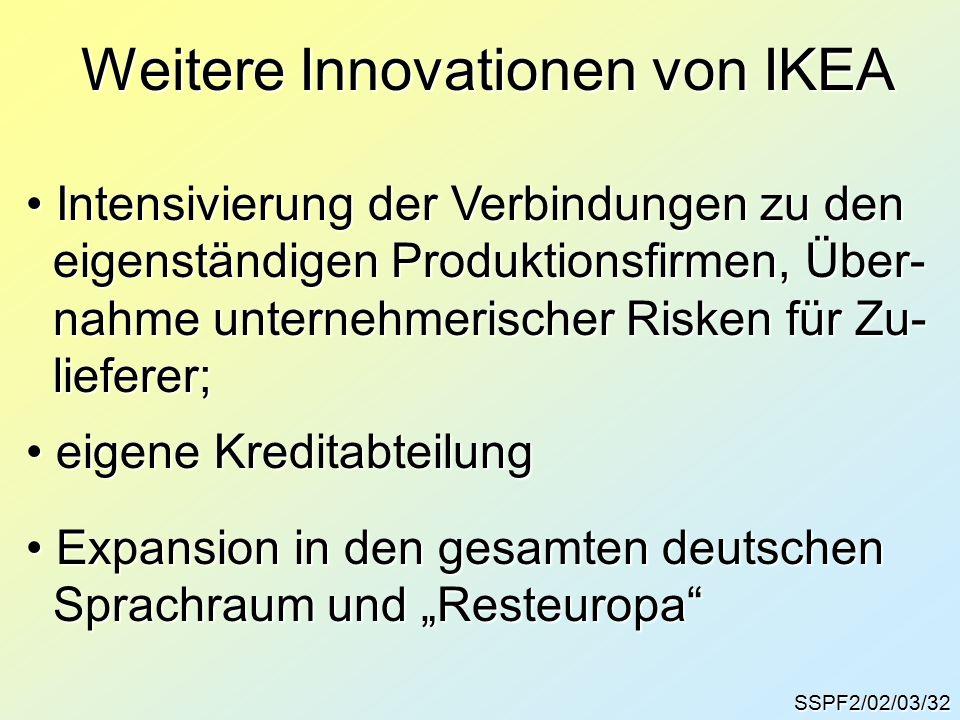 """SSPF2/02/03/32 Weitere Innovationen von IKEA Intensivierung der Verbindungen zu den Intensivierung der Verbindungen zu den eigenständigen Produktionsfirmen, Über- eigenständigen Produktionsfirmen, Über- nahme unternehmerischer Risken für Zu- nahme unternehmerischer Risken für Zu- lieferer; lieferer; eigene Kreditabteilung eigene Kreditabteilung Expansion in den gesamten deutschen Expansion in den gesamten deutschen Sprachraum und """"Resteuropa Sprachraum und """"Resteuropa"""
