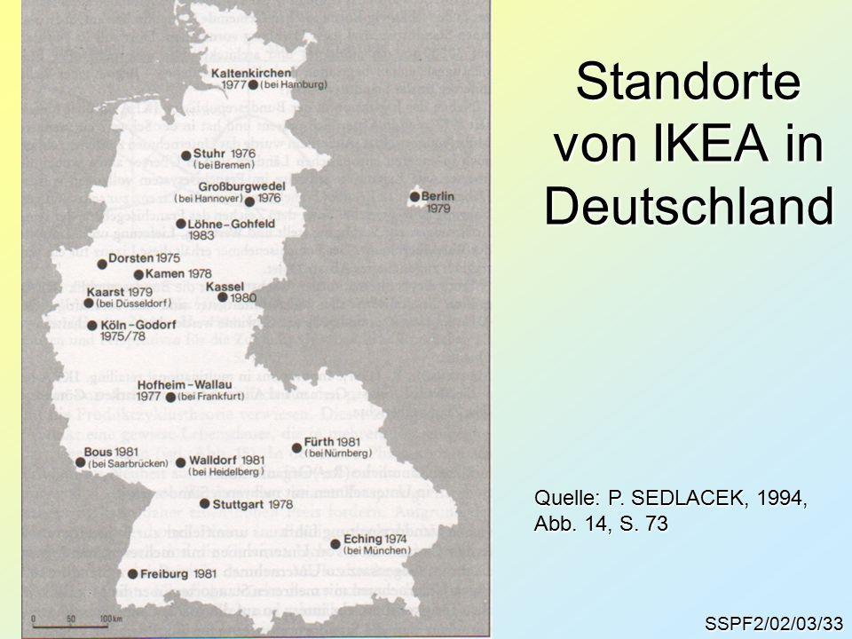 SSPF2/02/03/33 Standorte von IKEA in Deutschland Quelle: P. SEDLACEK, 1994, Abb. 14, S. 73