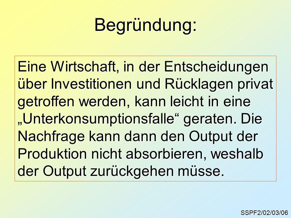 """Begründung: SSPF2/02/03/06 Eine Wirtschaft, in der Entscheidungen über Investitionen und Rücklagen privat getroffen werden, kann leicht in eine """"Unterkonsumptionsfalle geraten."""