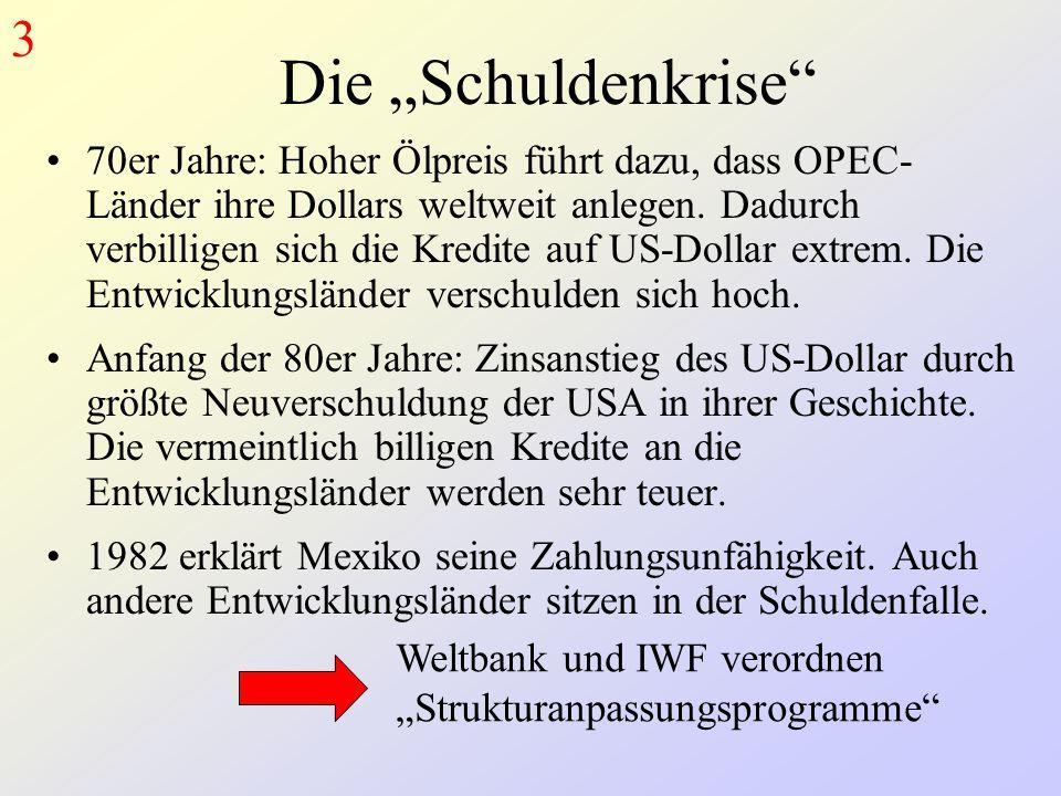 """Die """"Schuldenkrise 70er Jahre: Hoher Ölpreis führt dazu, dass OPEC- Länder ihre Dollars weltweit anlegen."""
