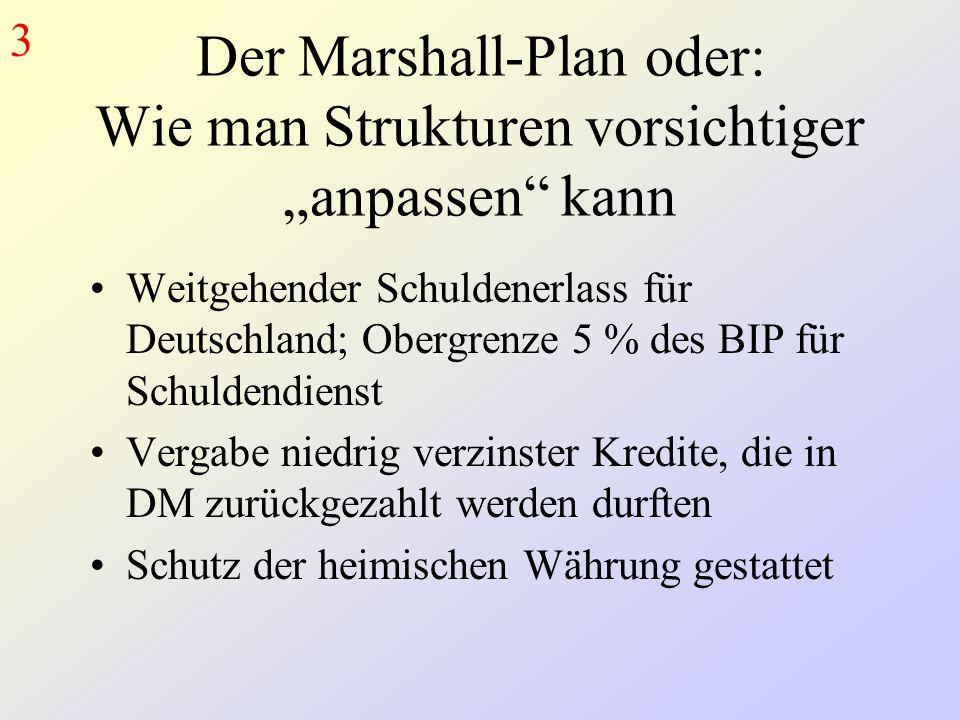 """Der Marshall-Plan oder: Wie man Strukturen vorsichtiger """"anpassen kann Weitgehender Schuldenerlass für Deutschland; Obergrenze 5 % des BIP für Schuldendienst Vergabe niedrig verzinster Kredite, die in DM zurückgezahlt werden durften Schutz der heimischen Währung gestattet 3"""