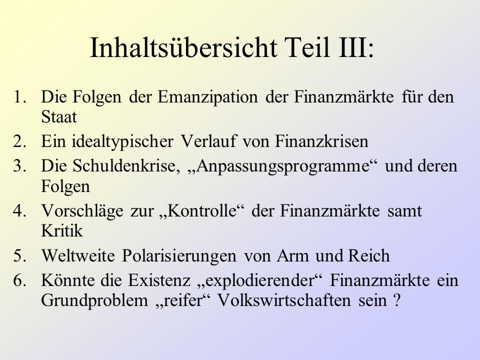 """Inhaltsübersicht Teil III: 1.Die Folgen der Emanzipation der Finanzmärkte für den Staat 2.Ein idealtypischer Verlauf von Finanzkrisen 3.Die Schuldenkrise, """"Anpassungsprogramme und deren Folgen 4.Vorschläge zur """"Kontrolle der Finanzmärkte samt Kritik 5.Weltweite Polarisierungen von Arm und Reich 6.Könnte die Existenz """"explodierender Finanzmärkte ein Grundproblem """"reifer Volkswirtschaften sein ?"""