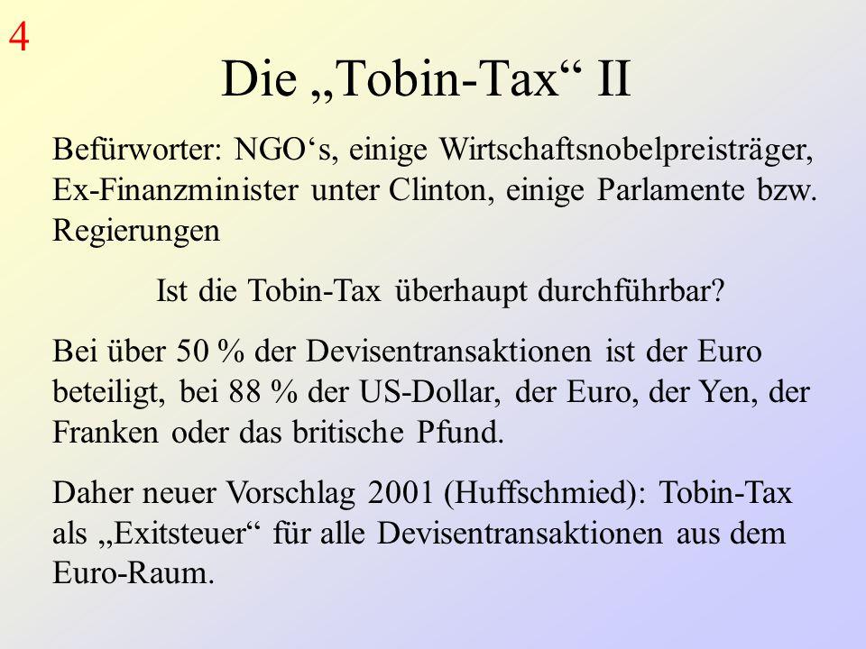 """Die """"Tobin-Tax II Befürworter: NGO's, einige Wirtschaftsnobelpreisträger, Ex-Finanzminister unter Clinton, einige Parlamente bzw."""