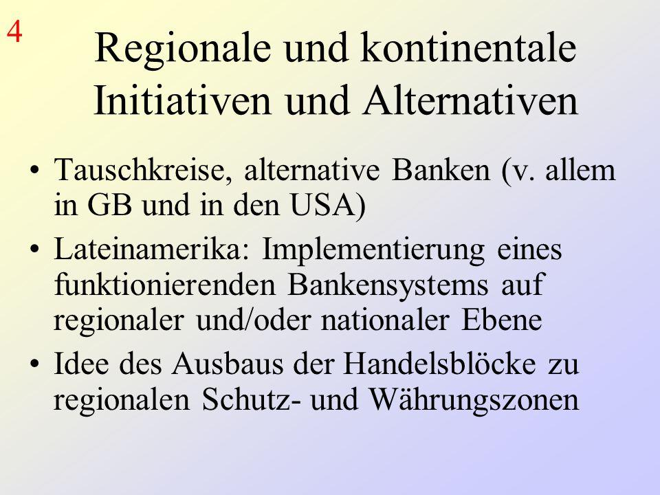 Regionale und kontinentale Initiativen und Alternativen Tauschkreise, alternative Banken (v.