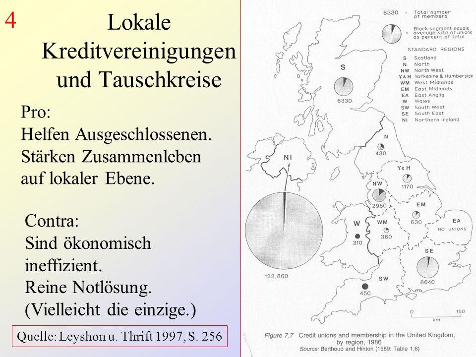 Lokale Kreditvereinigungen und Tauschkreise Pro: Helfen Ausgeschlossenen.