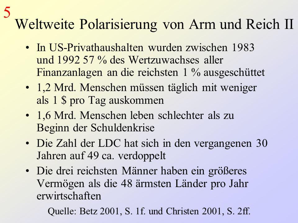 Weltweite Polarisierung von Arm und Reich II In US-Privathaushalten wurden zwischen 1983 und 1992 57 % des Wertzuwachses aller Finanzanlagen an die reichsten 1 % ausgeschüttet 1,2 Mrd.