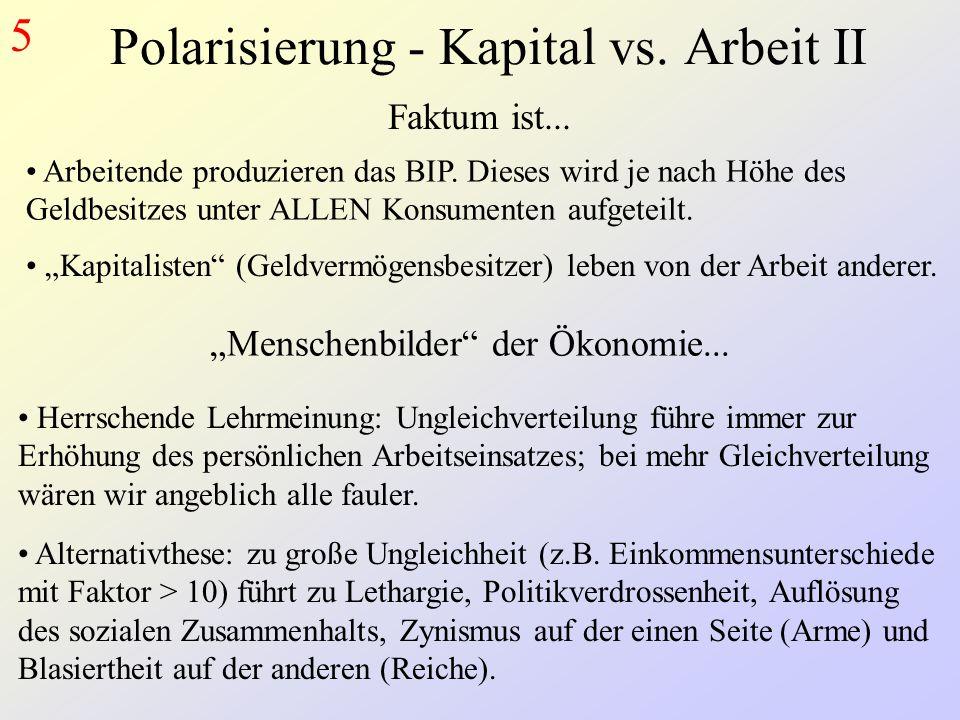 Polarisierung - Kapital vs.Arbeit II 5 Arbeitende produzieren das BIP.