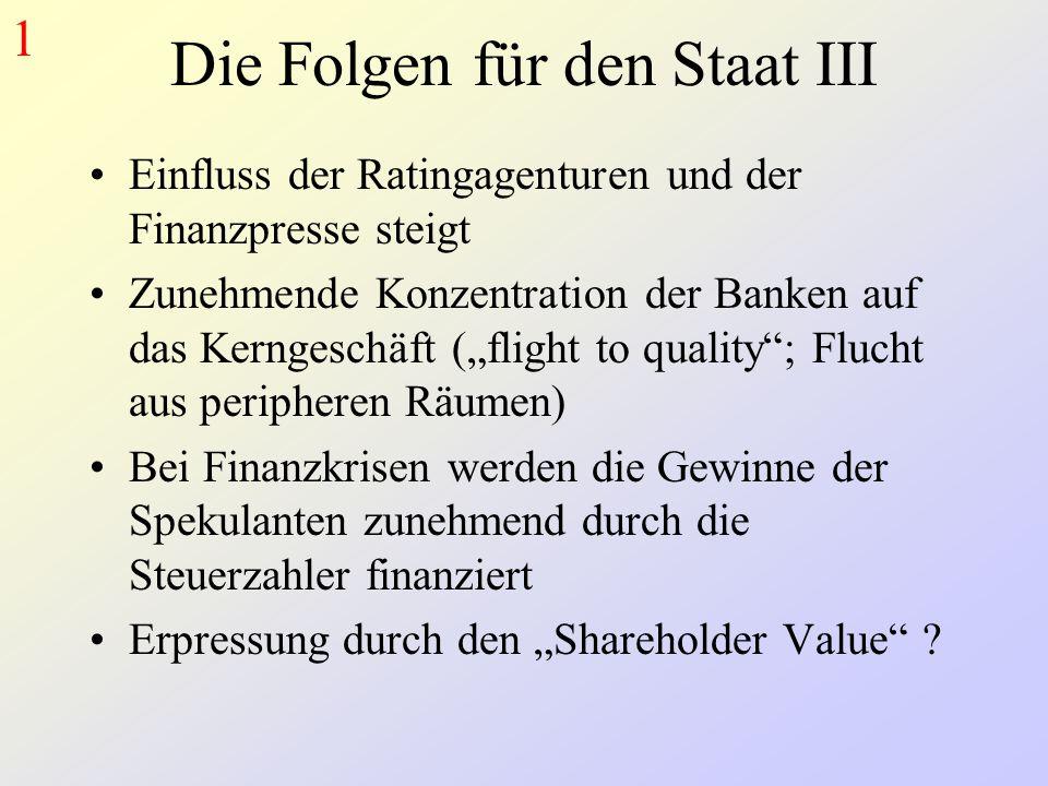 """Die Folgen für den Staat III Einfluss der Ratingagenturen und der Finanzpresse steigt Zunehmende Konzentration der Banken auf das Kerngeschäft (""""flight to quality ; Flucht aus peripheren Räumen) Bei Finanzkrisen werden die Gewinne der Spekulanten zunehmend durch die Steuerzahler finanziert Erpressung durch den """"Shareholder Value ."""