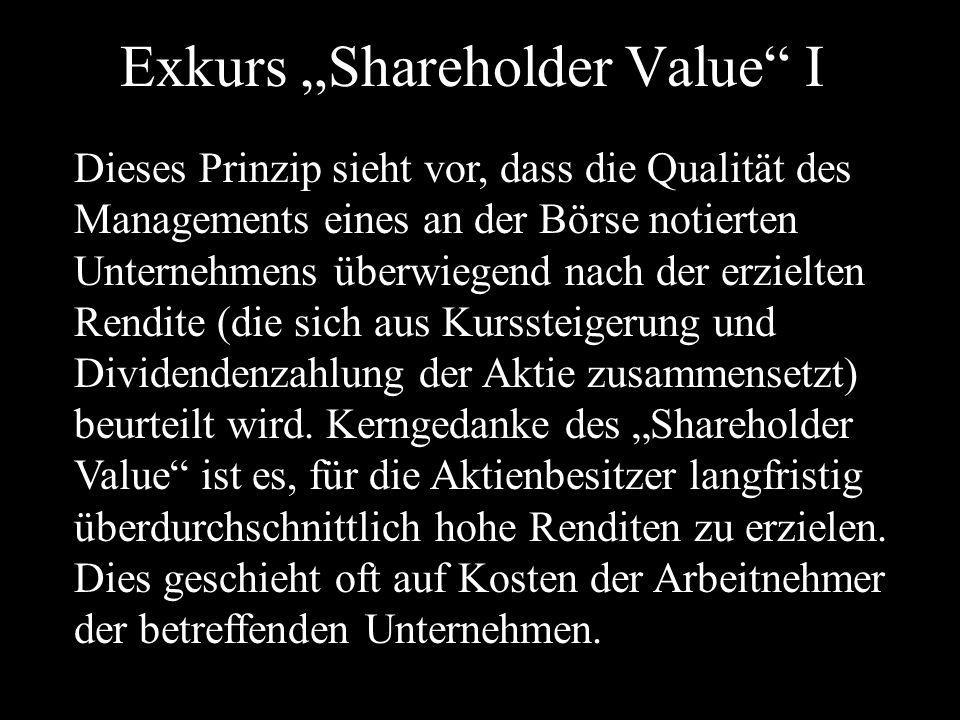 """Exkurs """"Shareholder Value I Dieses Prinzip sieht vor, dass die Qualität des Managements eines an der Börse notierten Unternehmens überwiegend nach der erzielten Rendite (die sich aus Kurssteigerung und Dividendenzahlung der Aktie zusammensetzt) beurteilt wird."""