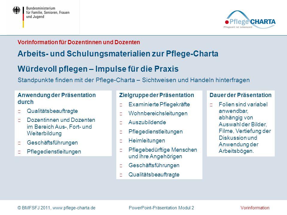 © BMFSFJ 2011, www.pflege-charta.dePowerPoint-Präsentation Modul 2 Dauer der Präsentation ▶ Folien sind variabel anwendbar, abhängig von Auswahl der B