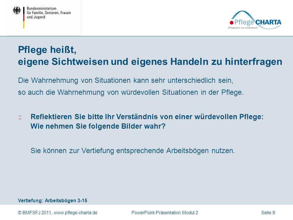 © BMFSFJ 2011, www.pflege-charta.dePowerPoint-Präsentation Modul 2 Vertiefung: Arbeitsbögen 3-15 Die Wahrnehmung von Situationen kann sehr unterschied