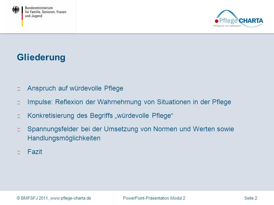 © BMFSFJ 2011, www.pflege-charta.dePowerPoint-Präsentation Modul 2 ▶ Anspruch auf würdevolle Pflege ▶ Impulse: Reflexion der Wahrnehmung von Situation