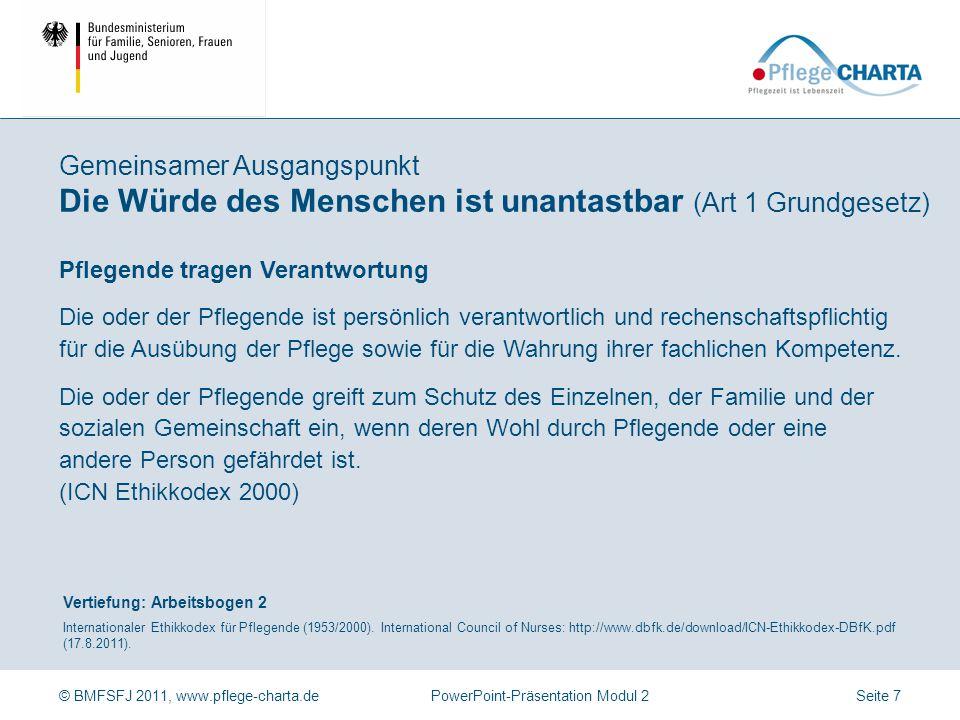© BMFSFJ 2011, www.pflege-charta.dePowerPoint-Präsentation Modul 2 Vertiefung: Arbeitsbogen 2 Internationaler Ethikkodex für Pflegende (1953/2000). In