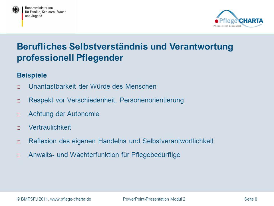 © BMFSFJ 2011, www.pflege-charta.dePowerPoint-Präsentation Modul 2 Beispiele ▶ Unantastbarkeit der Würde des Menschen ▶ Respekt vor Verschiedenheit, P