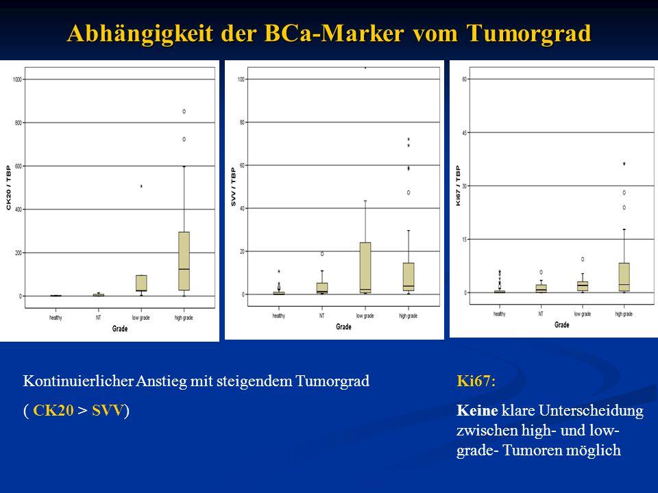 Zusammenfassung und Ausblick  relative Transkriptlevel von CK20, SVV& Ki67 mögliche BCa-Marker im Urin  Abhängigkeit vom Tumorstadium für diese drei Gene, für den -grad für CK20 und SVV gegeben  XIAP nicht geeignet für die Unterscheidung zwischen  XIAP nicht geeignet für die Unterscheidung zwischen BCa and benignen Erkrankungen  Messung weiterer möglicher BCa-Marker (htert, UCA1)  Fortsetzung der Sammlung von Cystektomieproben  Festlegung von Cut-off -Werten für den Vergleich des Urintests mit der Zytologie  Korrelation mit Follow-up-Daten  mögliche Vorhersage der Rezidivwahrscheinlichkeit (SVV als bekannter Prädiktor)