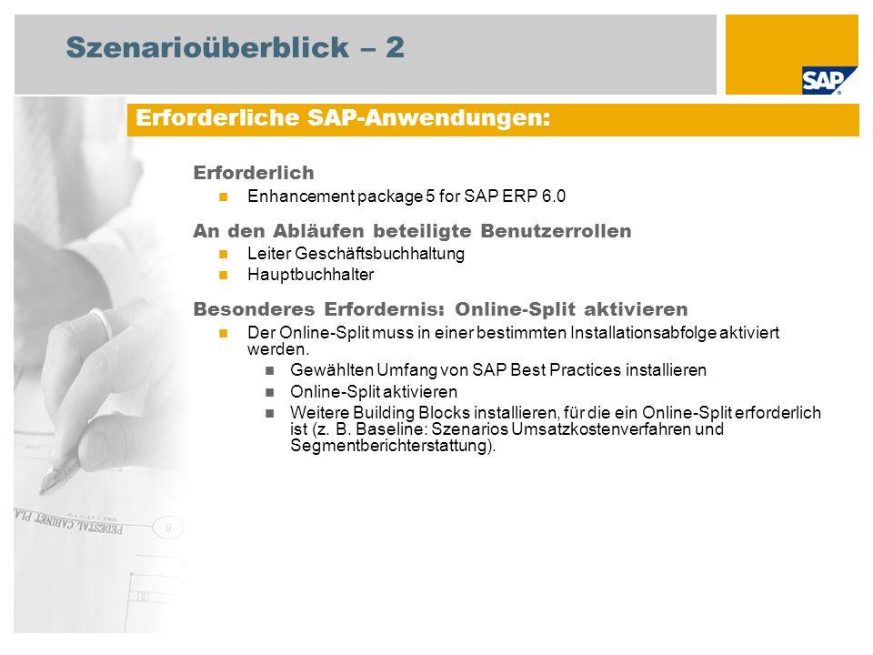Szenarioüberblick – 2 Erforderlich Enhancement package 5 for SAP ERP 6.0 An den Abläufen beteiligte Benutzerrollen Leiter Geschäftsbuchhaltung Hauptbuchhalter Besonderes Erfordernis: Online-Split aktivieren Der Online-Split muss in einer bestimmten Installationsabfolge aktiviert werden.