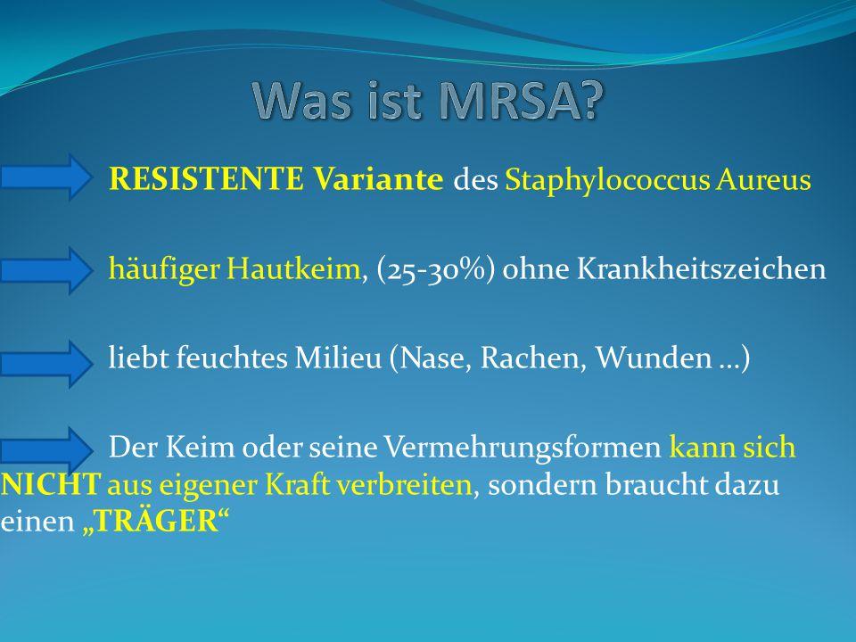 Definition und Differenzierung: ORSA (OxacillinRSA) MRSA (MethicillinRSA) VRSA =Vancomycin Resistenter Staph.