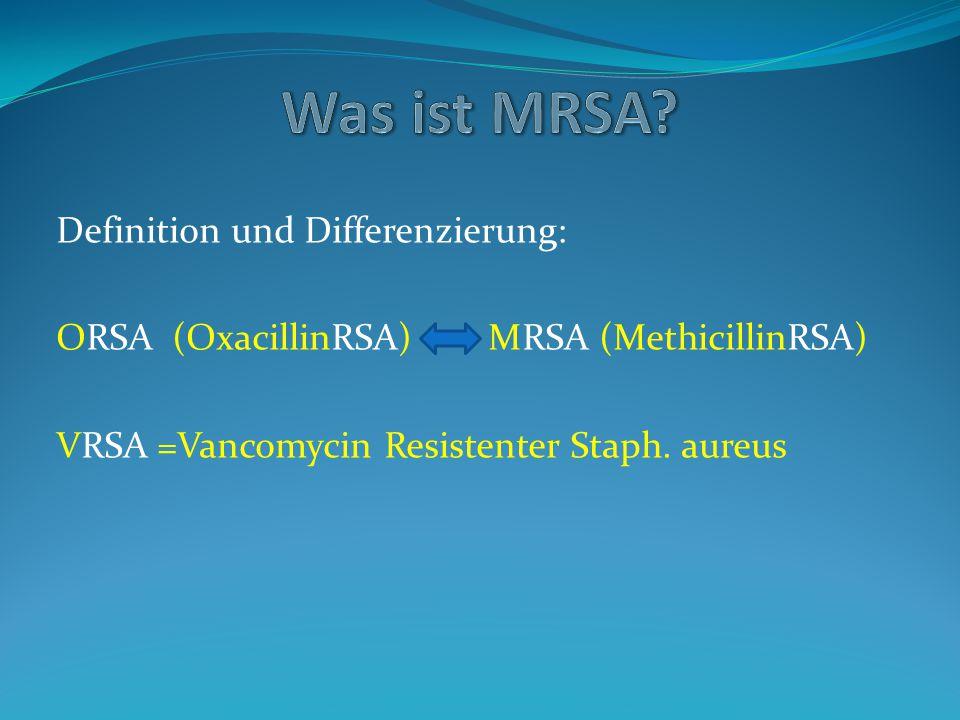 """""""Sonderform caMRSA = community acquiered Neue, sehr aggressive und letale Form des MRSA, z."""