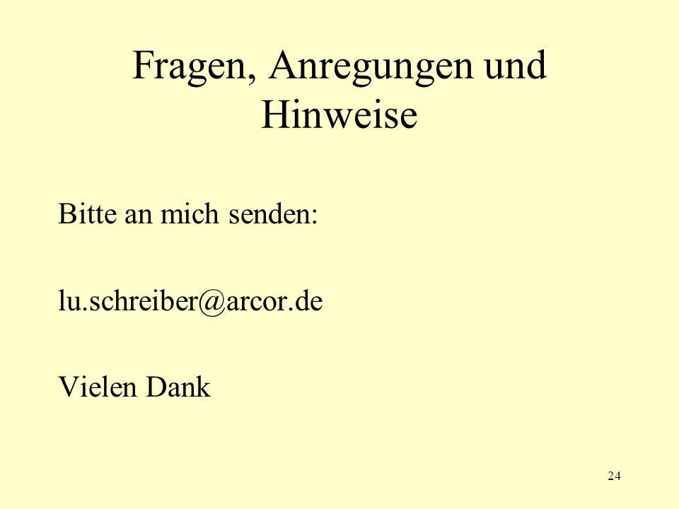24 Fragen, Anregungen und Hinweise Bitte an mich senden: lu.schreiber@arcor.de Vielen Dank